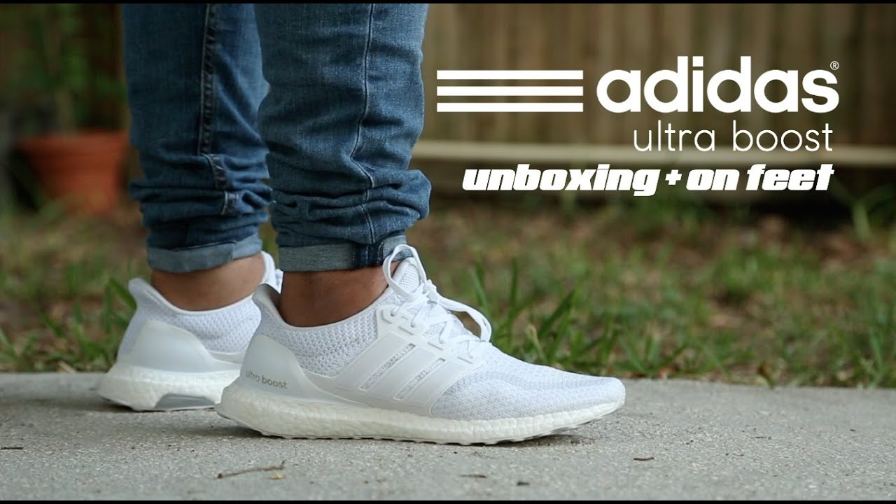 0ecd48e2d7e4 Adidas Ultra Boost Triple White 2.0 Unboxing + On Feet - YouTube