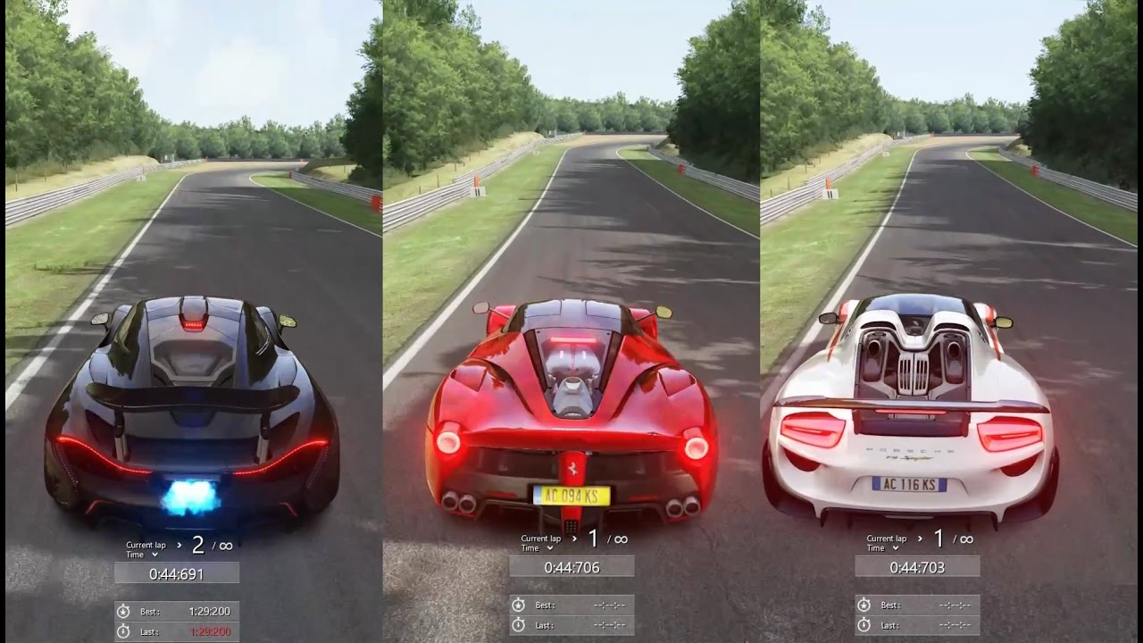 porsche 918 spyder vs mclaren p1 vs laferrari brands hatch assetto corsa youtube. Black Bedroom Furniture Sets. Home Design Ideas