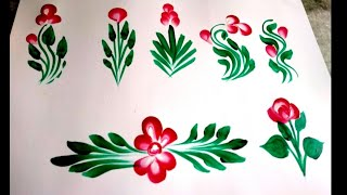How to draw gadapa design leaves|| how to draw flowers.