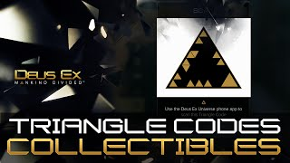 Triangle Codes are special collectibles and there is a total of 35 scattered around the world in Deus Ex Mankind Divided Youll need a smartphone with a
