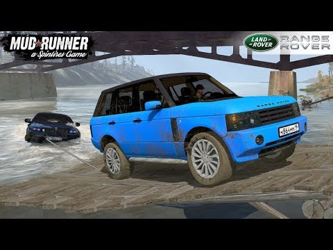 Spintires: MudRunner - RANGE ROVER Pulls Out Fallen Water BMW X6 M