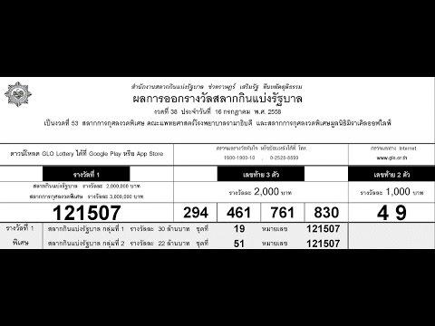 ใบตรวจหวย 16/07/58 ผลสลากกินแบ่งรัฐบาล 16 ก.ค. 2558