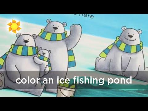 Color An Ice Fishing Pond - Christmas Card