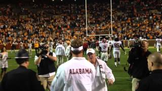 Lane Kiffin walking off the field after Alabama