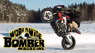 Wheelie on ice with Aprilia Tuono 1100 RR V4
