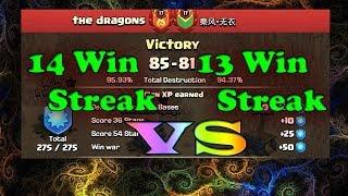 Clash of Clans | 14 Win Streak Clan vs 13 Win Streak Clan - Super Close!