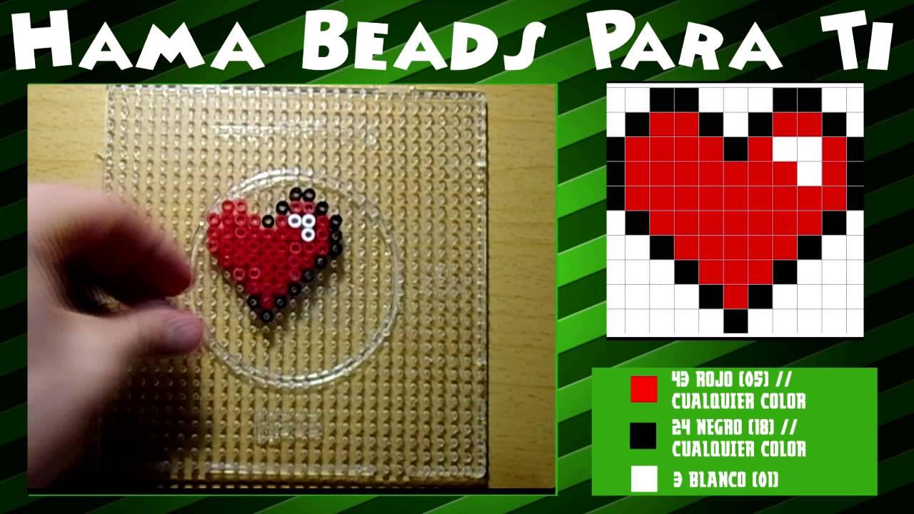Coraz n peque o tutorial hama beads youtube - Plantillas para la pared ...