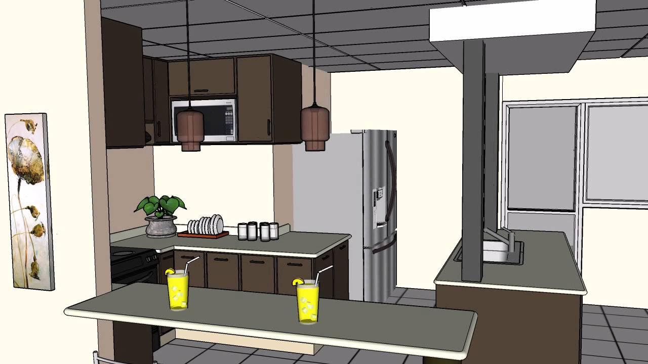 Cocina en sketchup video youtube for Modelo de cocina integrado