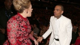 ANGRY Adele YELLS at CHRIS BROWN he REFUSES to STAND UP for FRANK OCEAN (55th GRAMMY AWARDS 2013)