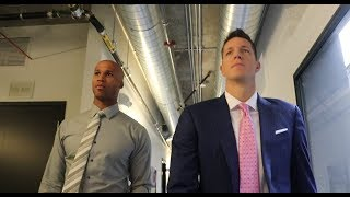 Richard Jefferson and Casey Jacobsen arrive at the Pac-12 Network's studio in style