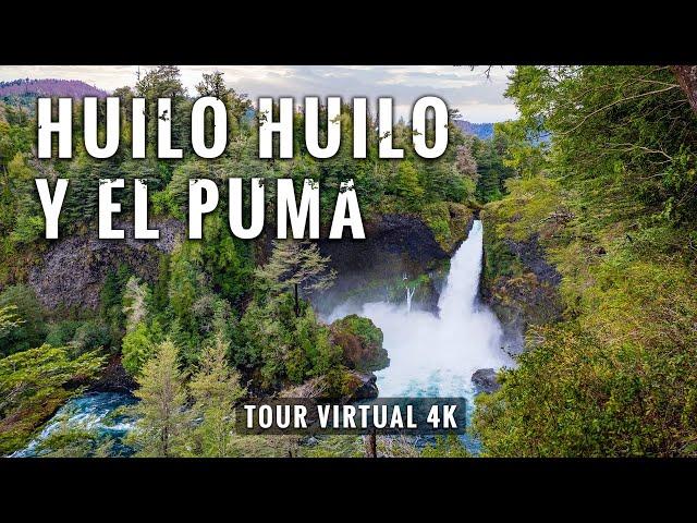 Salto Huilo Huilo y El Puma - 4K Tour Virtual con música relajante