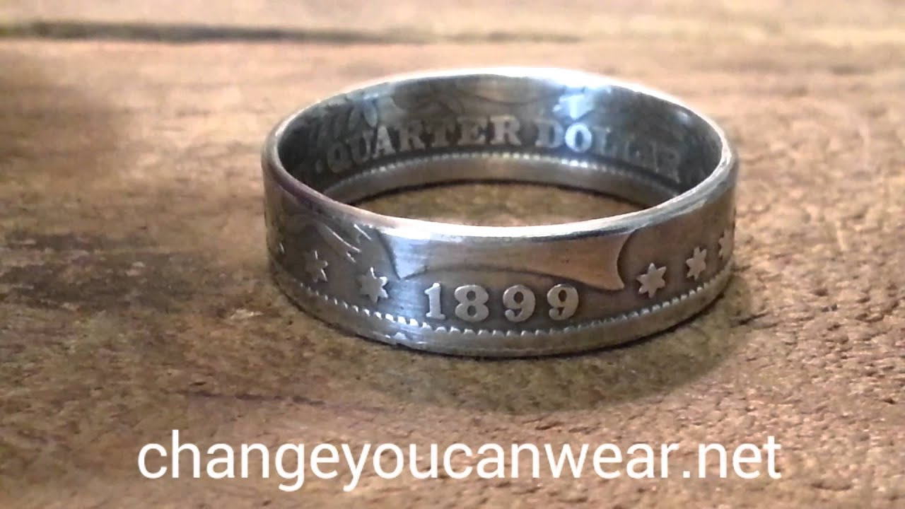 Barber quarter coin ring 90% silver
