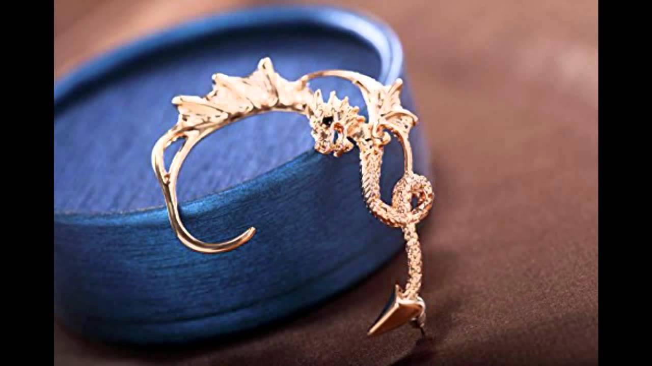 Okajewelry Gold Punk Gothic Flying Dragon Ear Cuff Wrap Earring