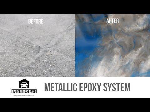 METALLIC EPOXY FLOOR - Before & After (700 sq/ft 3 Car Garage)   Epoxy Floors Idaho