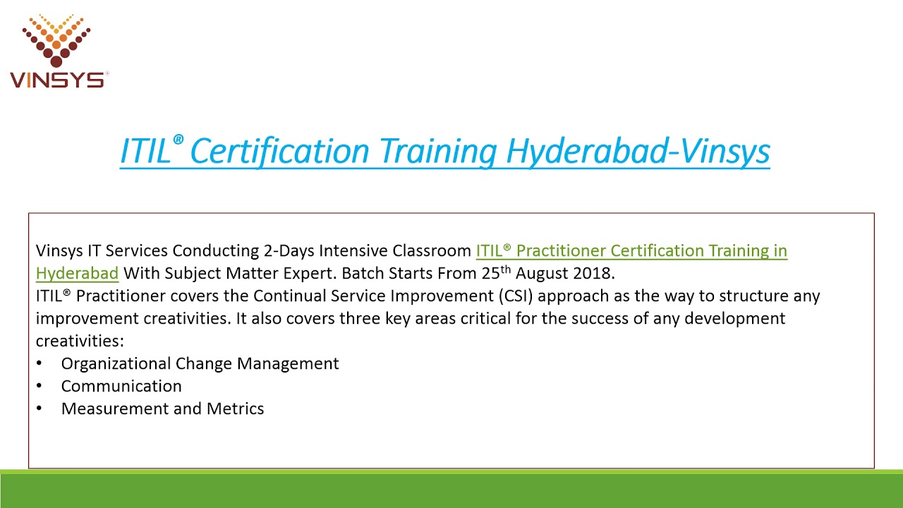 Itil Practitioner Certification Training Hyderabad By Vinsys Youtube