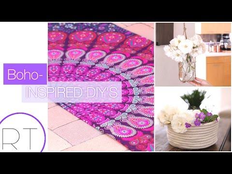 Boho Inspired DIYs (Yoga Mat, Rope Basket, Hanging Jar)