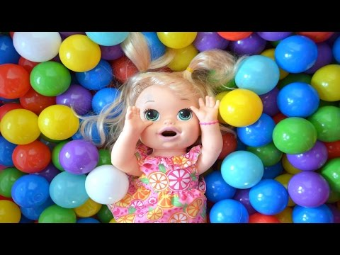 My Baby Alive Doll, Doc McStuffins and Baby Born Playing in Ball Pit!!! BananaKids