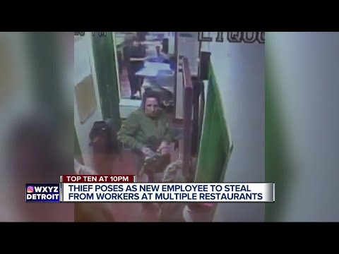Video catches woman posing as new employee stealing from restaurant workers