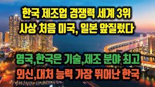 일본 꺾고 제조업 경쟁력 세계 3위 한국. 영국, 한국…