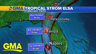 Timing and track of Tropical Storm Elsa