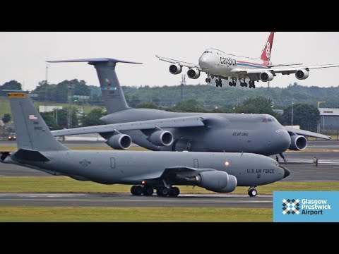 EPIC Morning Spotting | C-5 , KC-135 , B747 , Dash8 | Prestwick Airport 2018