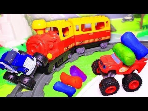 Вспыш и чудо машинки - мультики про машинки и паровозики с игрушками. Гонки 2019. Крушила и поезд