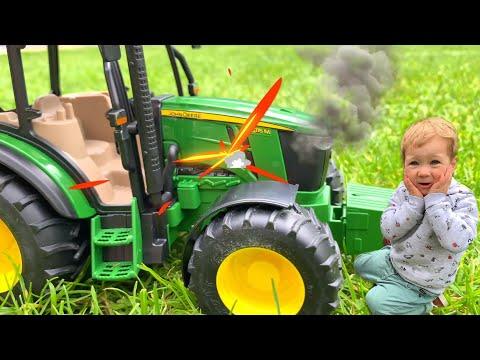 Трактор John Deere сломался | Видео про трактор для детей | Мультики про машинки и синий трактор