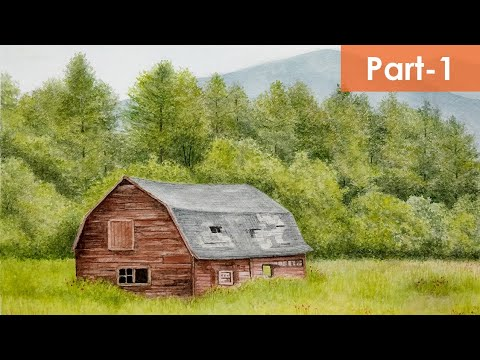How To Draw Landscape With A Barn | Watercolor Painting | Step By Step Tutorial | Pencil And Wash