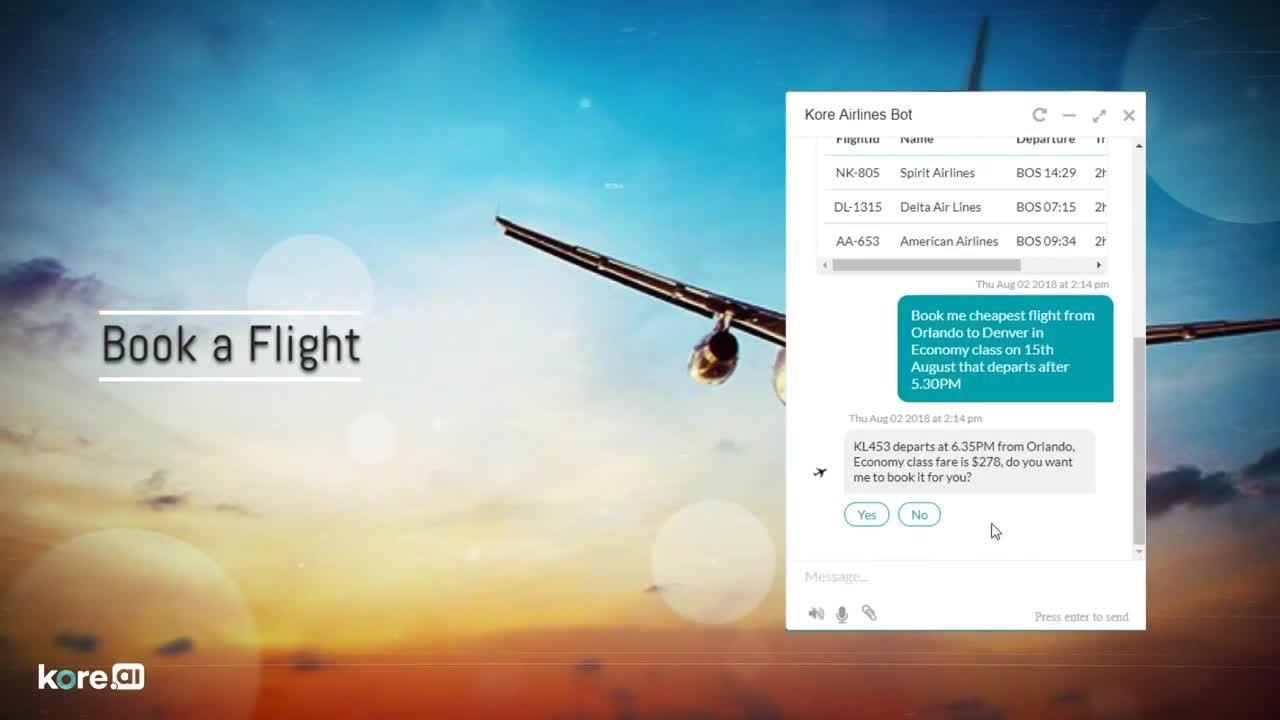 AI chatbot solutions for airlines industry | Kore ai