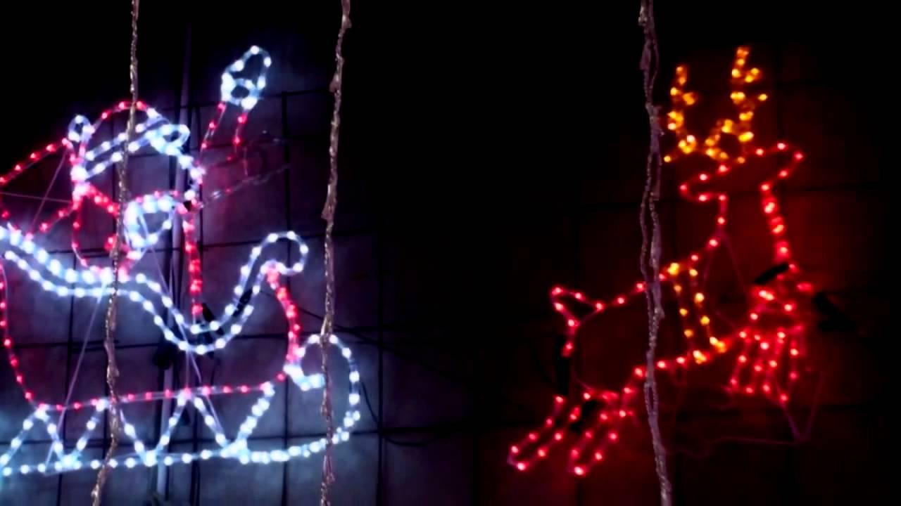 8490f9143b Christmas Lighting Show Display  Spectacular Large Santa Claus and Reindeer  Sleigh Animated MOTIF