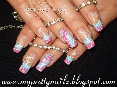 simple spring summer ombre french tips with swirls and