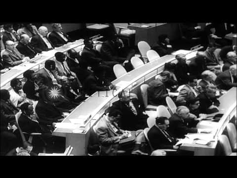 Nikita Khrushchev, King Hussein of Jordan and Jawaharlal Nehru speak at the Gener...HD Stock Footage
