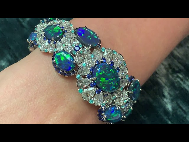 Black opals, diamonds and Paraiba tourmalines from David Morris