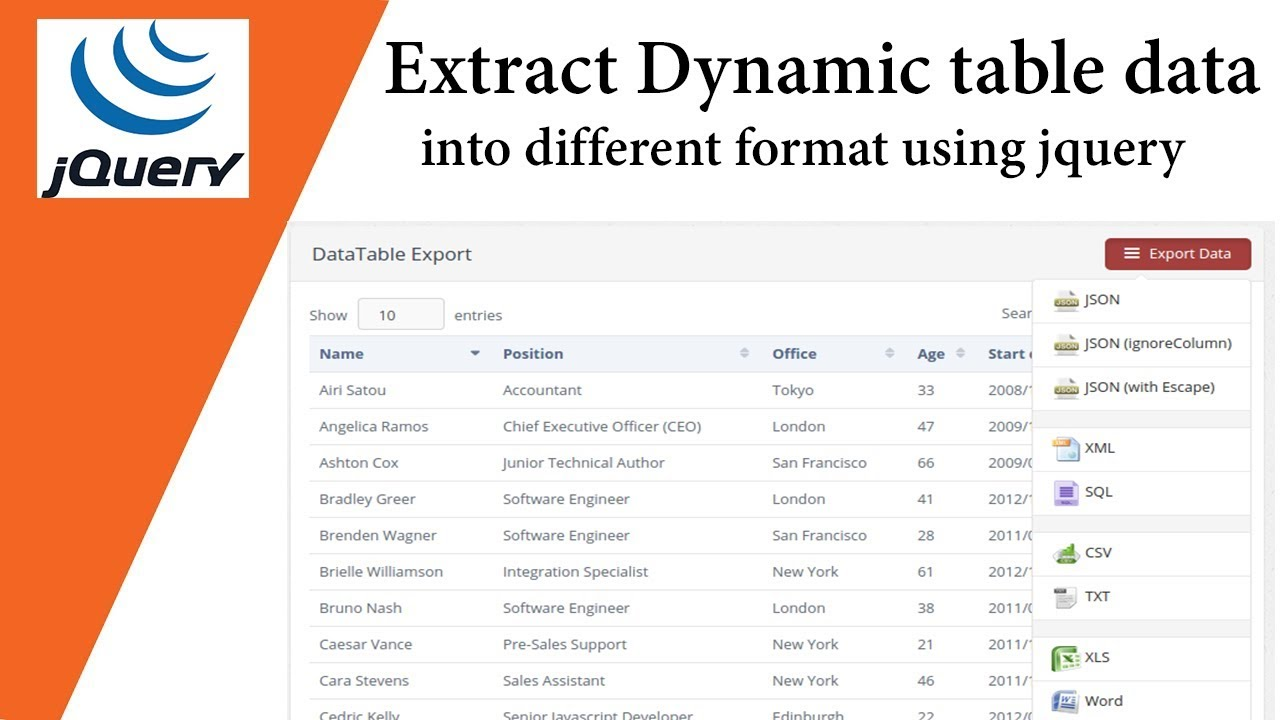 Extract Dynamic table data into JSON XML,PNG,CSV,TXT,SQL,MS-Word,Ms-Excel and PDF format🔥