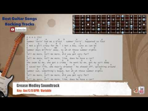Grease Medley / Megamix Guitar Backing Track with scale, chords and lyrics