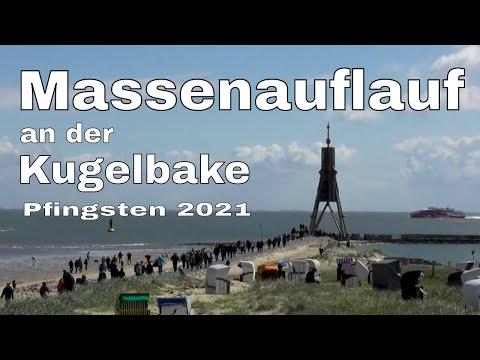Massenauflauf in Cuxhaven an der Kugelbake zu Pfingsten 2021