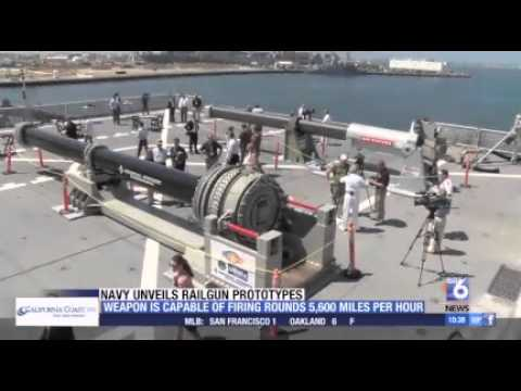 NAVY UNVEILS PROTOTYPE RAILGUNS - YouTube