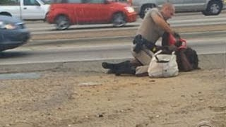 "CHP says woman in police beating was ""physically combative"""