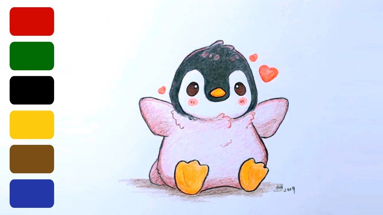 How to Draw a Baby Penguin, Step by Step, Cartoon Animals ... |Cute Baby Penguins Drawings
