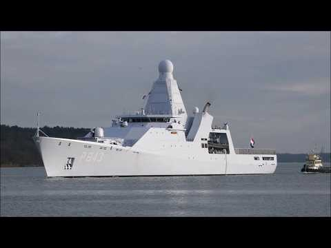 HNLMS Groningen (P843) arrives to ABP Ipswich as part of an Ambassadorial visit. 25th January 2019