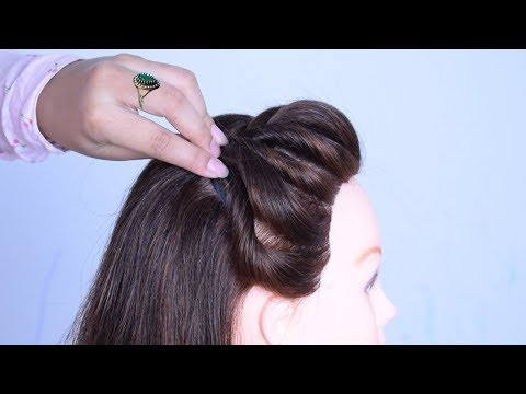 new side puff hairstyle for medium to long hair |  hair style for medium hair thumbnail