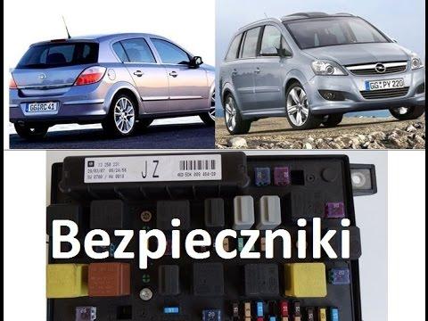 Rozkład bezpieczników  Opel Astra H, Zafira B  skrzynka bezpieczników UEC, REC  YouTube