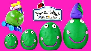 SURPRISE EGGS Ben and Holly's Little Kingdom Push-Along Frog Play Doh Egg Episodes DCTC