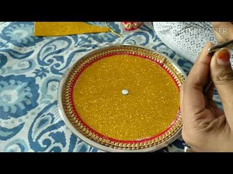 #karwachauth2k19                                       how to decorate karwa chauth thali at home...