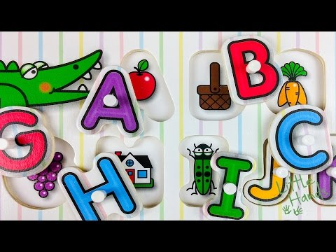 ABC Color Alphabet Peg Puzzle learning ABC in English for Toddler Kids Wood Toys | LittleHands