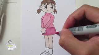 How to draw Shizuka from Doraemon 静ちゃん