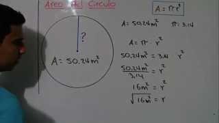 Como Calcular el radio de un circulo. Ejemplo 3