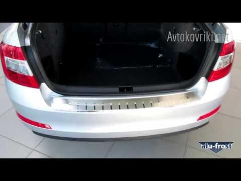видео: Накладка на бампер с загибом для skoda octavia a7 2013- alufrost