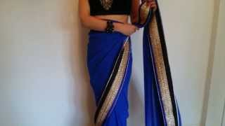 How To Wear: Royal Blue & Black Sari