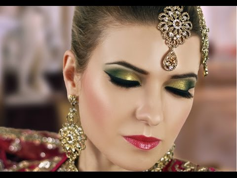 Gold and Green Smokey Eye Bridal Makeup Tutorial